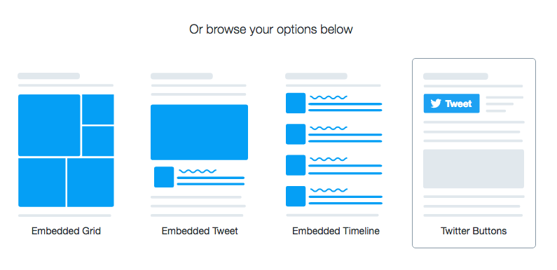Twitter publish feature for websites