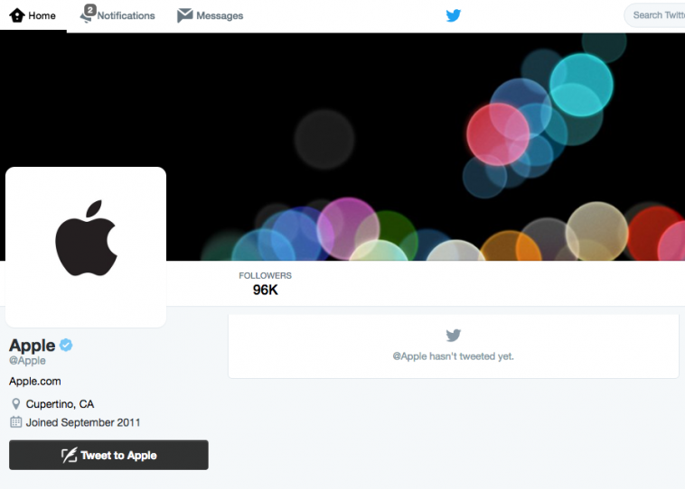 Apple Joins Twitter
