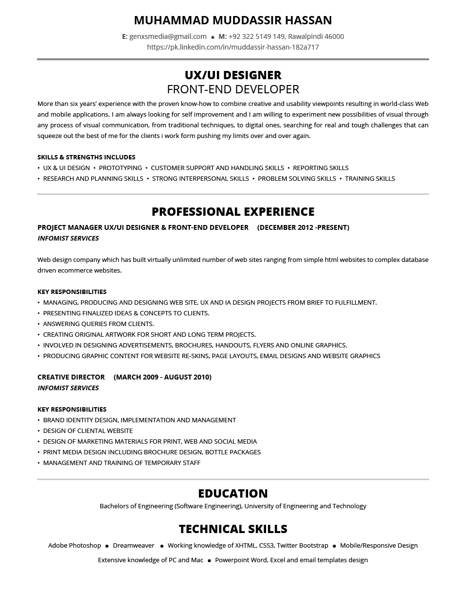 Reasons Why This Resume Is Excellent- Muddassir Hassan CV