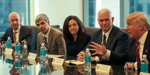 rom left, Jeff Bezos, the CEO of Amazon; Larry Page, the CEO of Google parent Alphabet Inc.; Sheryl Sandberg, the chief operating officer of Facebook; Vice President-elect Mike Pence; and President-elect Donald Trump at Wednesday's meeting in New York.