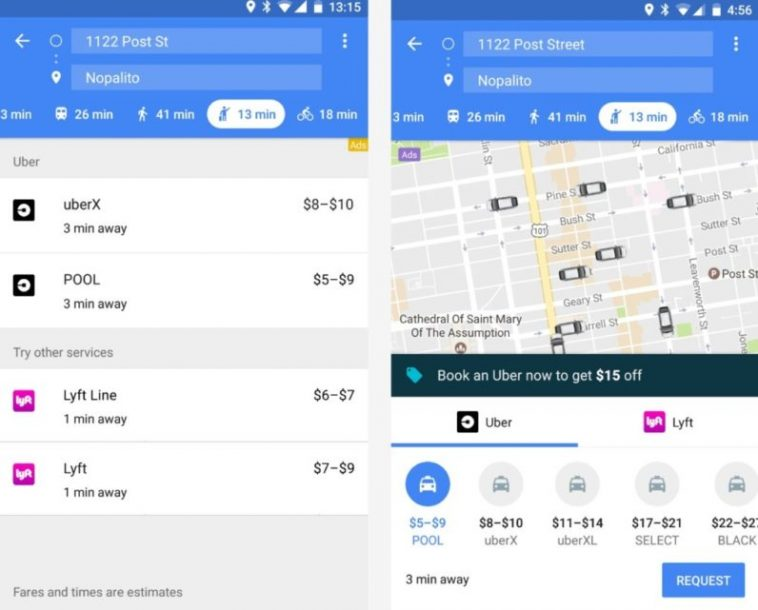 Google Maps displays Uber drivers now in real time | on